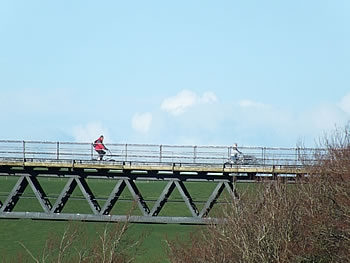 Cyclists on Meldon Viaduct